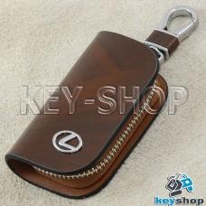Ключница карманная (кожаная, коричневая, с узором, на молнии, с карабином, с кольцом), логотип авто Lexus (Лексус)