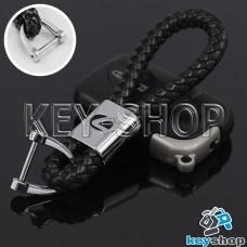 Кожаный плетеный (черный) брелок для авто ключей LEXUS (Лексус)