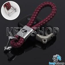 Кожаный плетеный (бордовый) брелок для авто ключей LEXUS (Лексус)