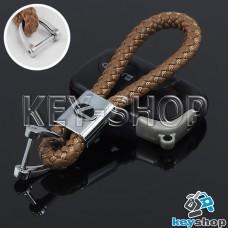 Кожаный плетеный (светло - коричневый) брелок для авто ключей LEXUS (Лексус)