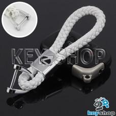 Кожаный плетеный (белый) брелок для авто ключей LEXUS (Лексус)