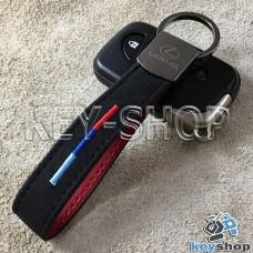 Кожаный замшевый (черный) брелок для авто ключей с логотипом Lexus (Лексус) и хромированным карабином