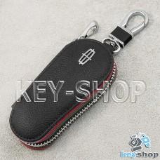 Ключница карманная (кожаная, черная, на молнии, с карабином, с кольцом), логотип авто Lincoln (Линкольн)