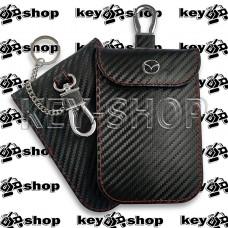 Чехол Фарадея, антисканер, противоугонный чехол Mazda (Мазда) (кожаный, под карбон, черный, на липучке, с карабином, с кольцом)
