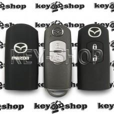 Чехол (черный, силиконовый) для смарт ключа Mazda (Мазда) 2 кнопки