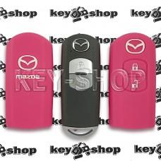Чехол (розовый, силиконовый) для смарт ключа Mazda (Мазда) 2 кнопки