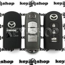 Чехол (черный, силиконовый) для смарт ключа Mazda (Мазда) 3 кнопки