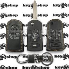 Чехол (кожаный) для выкидного ключа Mazda (Мазда) 3 кнопки