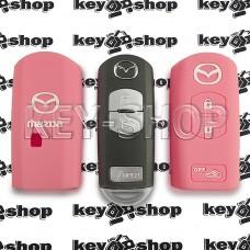 Чехол силиконовый смарт ключа Mazda (Мазда)  (розовый) 2 + 1 кнопки