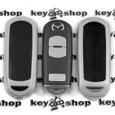 Чехол металлический с кожаными вставками для смарт ключа Mazda (Мазда)