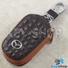 Ключница карманная (кожаная, коричневая, с тиснением, на молнии, с карабином, с кольцом), логотип авто Mazda (Мазда)