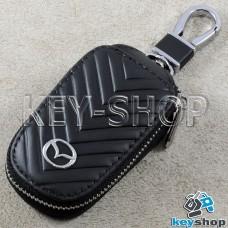 Ключница карманная (кожаная, черная, с тиснением, на молнии, с карабином, с кольцом), логотип авто Mazda (Мазда)