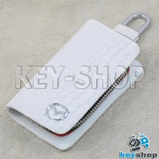 """Ключница карманная (белая, """"змеиная кожа"""", на молнии, с карабином, с кольцом), логотип авто Mazda (Мазда)"""