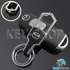 Металлический брелок для авто ключей  MAZDA (Мазда) с карабином и кожаной вставкой