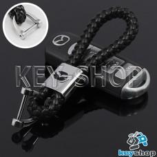 Кожаный плетеный (черный) брелок для авто ключей MAZDA (Мазда)