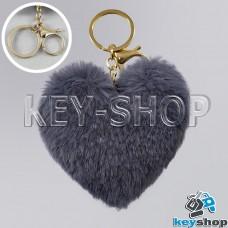 Темно-серый пушистый меховой брелок сердце, с кольцом и карабином на сумку, рюкзак