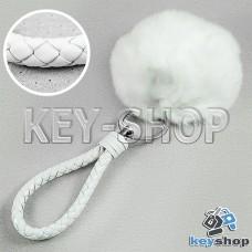 Белый пушистый меховой брелок шарик, с плетеным кожаным шнурком с кольцом на сумку, рюкзак