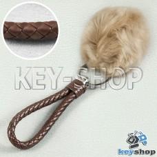 Коричневый пушистый меховой брелок шарик, с плетеным кожаным шнурком с кольцом на сумку, рюкзак