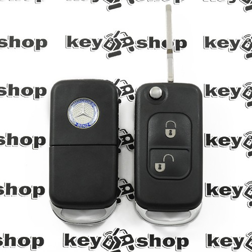 Корпус выкидного авто ключа для MERCEDES C, S, SL, G-class (мерседес) 2 - кнопки, лезвие HU39 (Фиксация винтом)