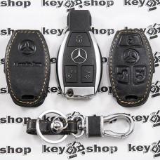 Чехол (кожаный, хромированная рыбка) для смарт ключа Mercedes (Мерседес) 3 кнопки