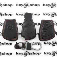 Чехол (кожаный, черная рыбка) для смарт ключа Mercedes (Мерседес) 2 кнопки