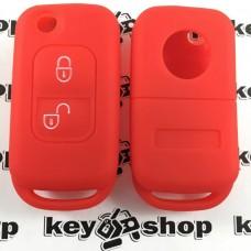 Чехол (красный, силиконовый) для выкидного ключа Мерседес (MERCEDES) 2 кнопки