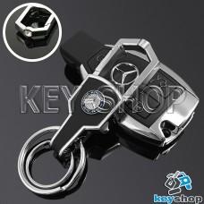 Металлический брелок для авто ключей MERCEDES (Мерседес) с карабином и кожаной вставкой