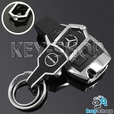Металлический брелок для авто ключей MERCEDES-AMG (Мерседес-AMG) с карабином и кожаной вставкой