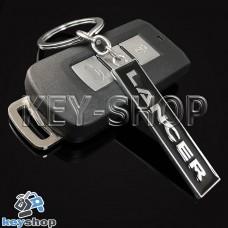 Металлический (черный) брелок для авто ключей Mitsubishi Lancer (Митсубиси Лансер)
