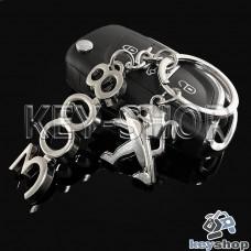 Металлический брелок для авто ключей Пежо 3008 (Peugeot 3008)
