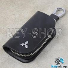 Ключница карманная (кожаная, черная, с узором, на молнии, с карабином, с кольцом), логотип авто Mitsubishi (Митсубиси)