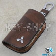 Ключница карманная (кожаная, коричневая, с узором, на молнии, с карабином, с кольцом), логотип авто Mitsubishi (Митсубиси)