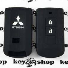 Чехол (черный, силиконовый) для смарт ключа Mitsubishi (Митсубиси) 2 кнопки
