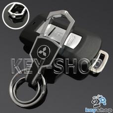 Металлический брелок для авто ключей Mitsubishi (Митсубиси) с карабином и кожаной вставкой