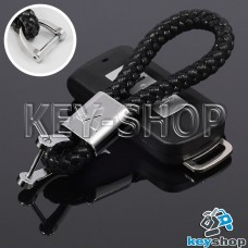 Кожаный плетеный (черный) брелок для авто ключей Mitsubishi (Митсубиси)