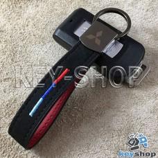 Кожаный замшевый (черный) брелок для авто ключей с логотипом Mitsubishi (Митсубиси) и хромированным карабином