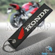 Брелок для мотоключей Honda (Хонда) черный, с кольцом (текстиль)