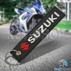 Брелок для мотоключей Suzuki (Сузуки) черный, с кольцом (текстиль)