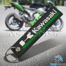Брелок для мотоключей Kawasaki (Кавасаки) черный, с кольцом (текстиль)