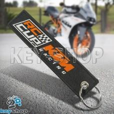Брелок для мотоключей KTM (КТМ) черный, с кольцом (текстиль)