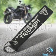 Брелок для мотоключей Triumph (Триуиф) черный, с кольцом (текстиль)