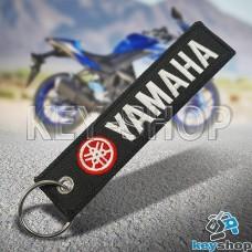 Брелок для мотоключей Yamaha (Ямаха) черный, с кольцом (текстиль)