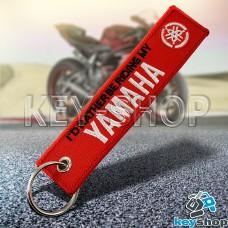 Брелок для мотоключей Yamaha (Ямаха) красный, с кольцом (текстиль)