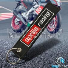 Брелок для мотоключей Aprilia (Априлия) черный, с кольцом (текстиль)
