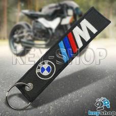 Брелок для мотоключей BMW (БМВ) черный, с кольцом (текстиль)