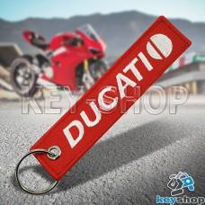 Брелок для мотоключей Ducati (Дукати) красный, с кольцом (текстиль)