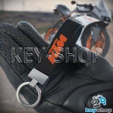 Брелок для мотоключей  KTM (КТМ) кожаный, черный с хромированной фурнитурой