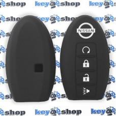 Чехол (силиконовый) для смарт ключа Nissan (Ниссан) 3 + 1 кнопки (черный)