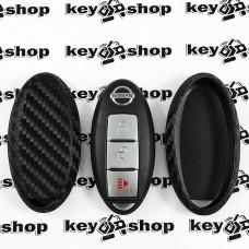 Чехол (силиконовый, под карбон) для смарт ключа Nissan (Ниссан)