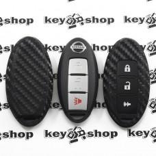Чехол (силиконовый, под карбон) для смарт ключа Nissan (Ниссан) 2 + 1 кнопки